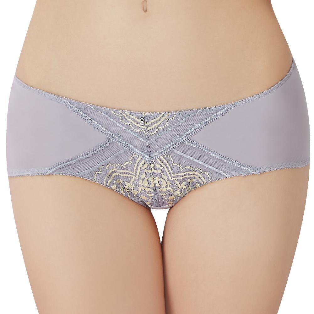 思薇爾 啵時尚花心思系列M-XL蕾絲低腰平口內褲(紫藤灰)