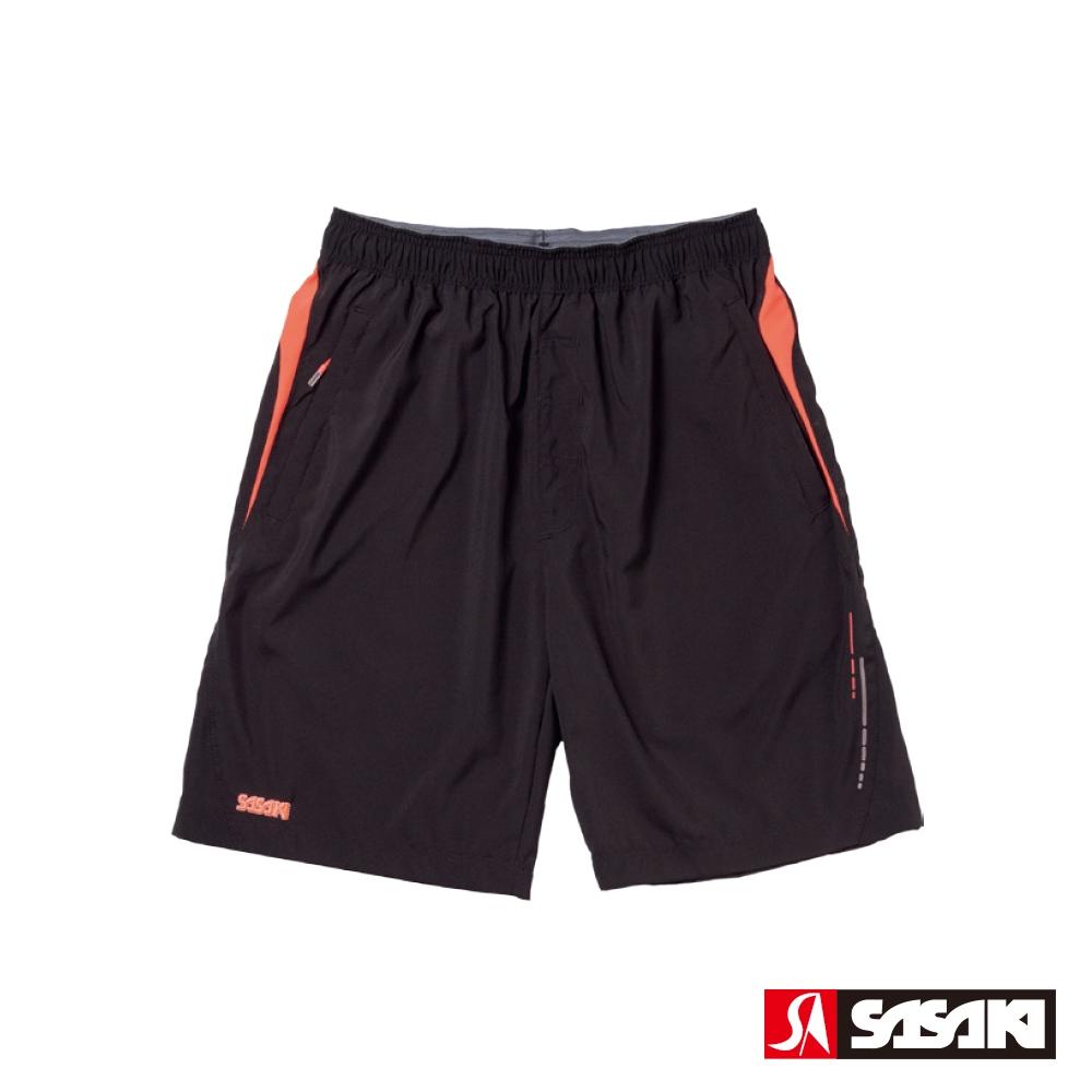 SASAKI 抗紫外線反光功能四面彈力網球短褲-男-黑/艷桔
