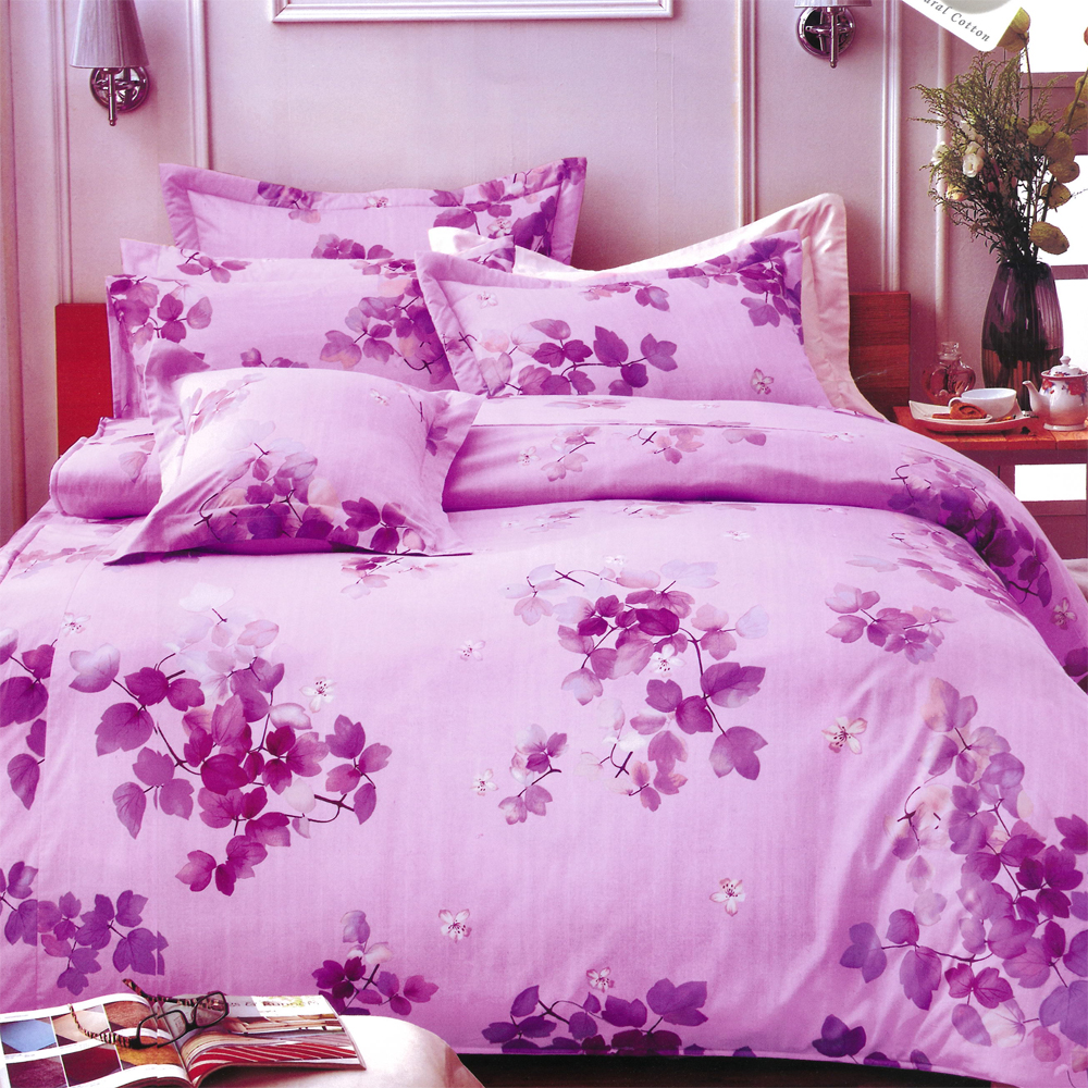 花漾情 台灣製雙人五件式純棉床罩組