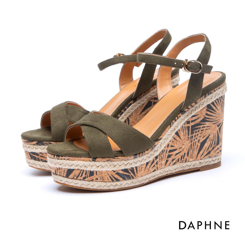 達芙妮DAPHNE 涼鞋-交叉寬帶草編花紋楔型涼鞋-橄欖綠