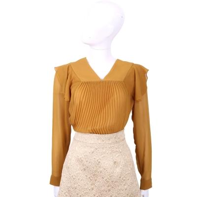 SEE BY CHLOE 深黃色抓褶拼接絲質上衣