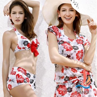 SANQI三奇 水漾夏日的鮮花.三件式鋼圈比基尼泳衣(白M.L)