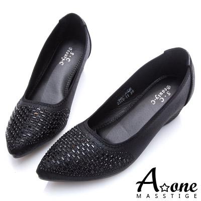 A-one-小尖頭閃亮光澤燙鑽楔型跟鞋-黑色