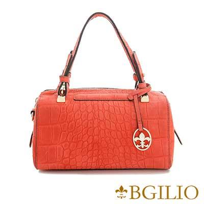 義大利BGilio-甜美鱷魚紋牛皮波士頓小包-紅色1968.003A-01
