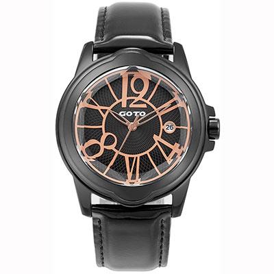 GOTO Romance時尚腕錶-IP黑x玫/39mm
