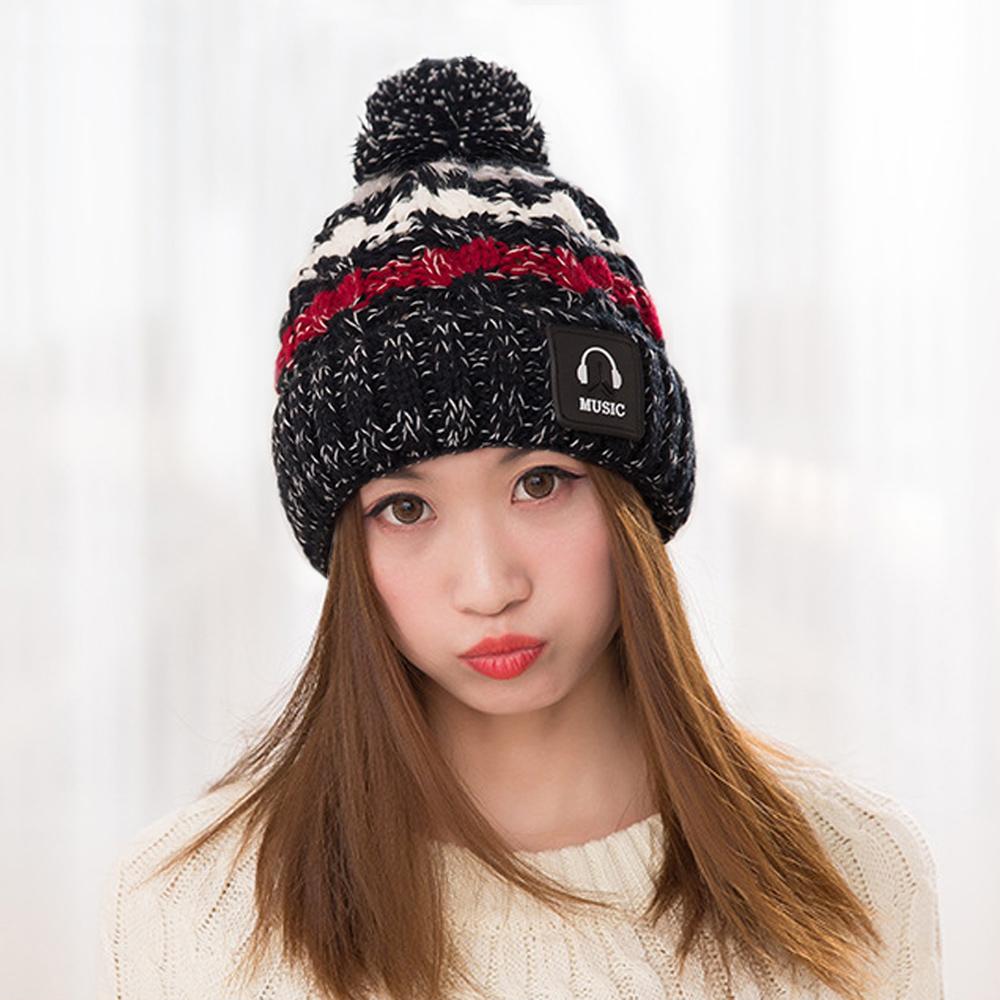幸福揚邑 MUSIC潮流雙層保暖護耳小顏拚色毛球針織毛線帽-炫黑