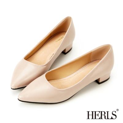 HERLS-優雅內真皮素面跟鞋-粉色