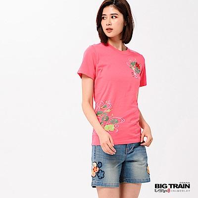 BIG TRAIN 荷葉金魚短袖女款-女-桃紅