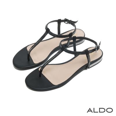 ALDO 閃耀動人T字鑲嵌水鑽金屬釦帶涼鞋~尊爵黑色