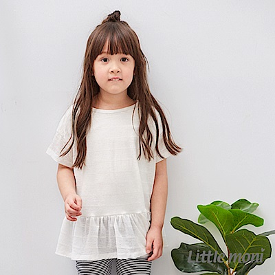 Little moni 清透條紋荷葉襬上衣 (共2色)
