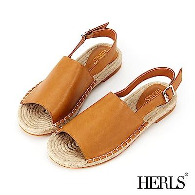 HERLS 海島邂逅 寬版真皮麻底涼鞋-棕色