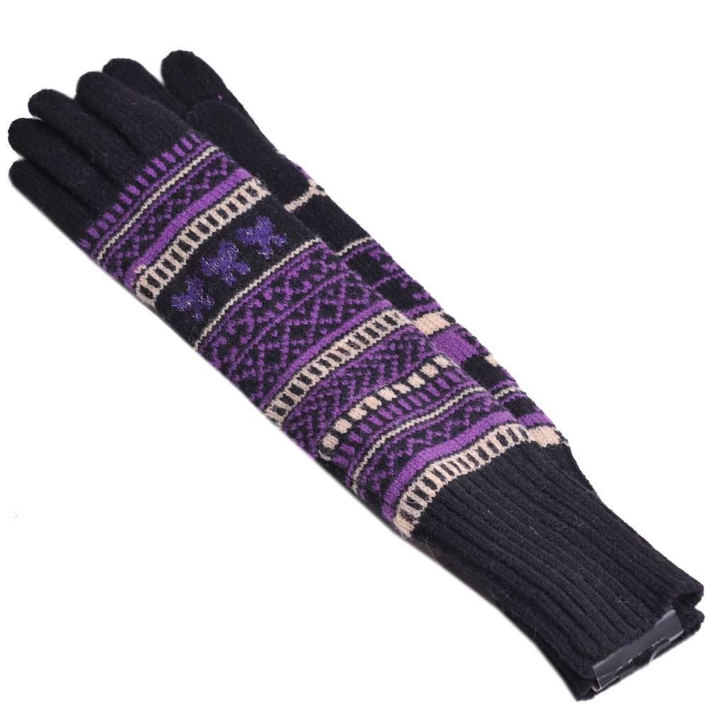 ANNA SUI 蝴蝶圖騰羊毛長版手套(黑紫)