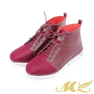 MK-台灣真皮系列-極輕量透氣綁帶高筒休閒鞋-紅色
