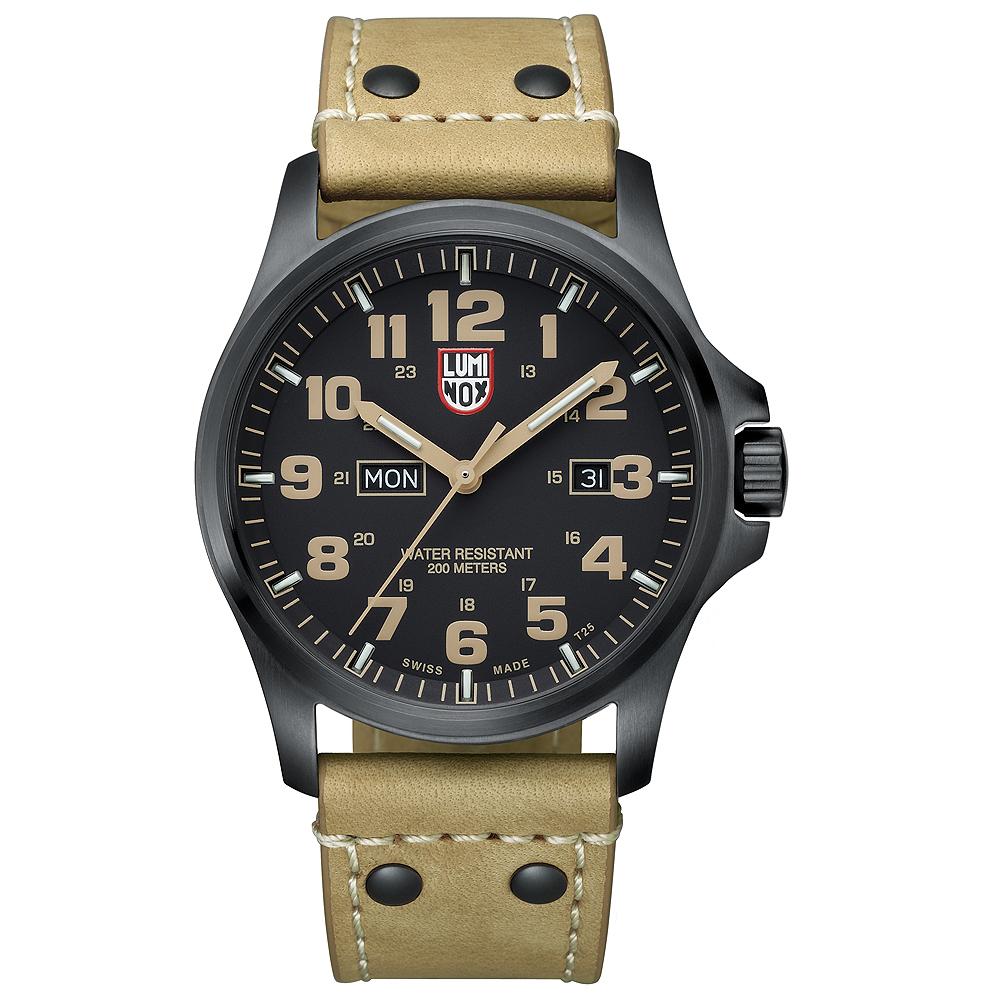 LUMINOX 雷明時 ATACAMA戰場系列藍寶鏡面腕錶-PVD黑x卡其時標/45mm