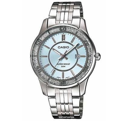 CASIO 簡約風采閃亮時尚日曆指針腕錶-(LTP-1358D-2A)-水藍色/34mm