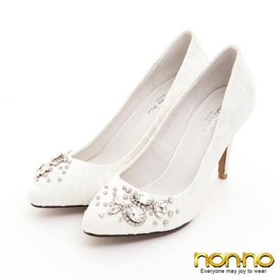 nonno-優雅精緻-蕾絲水鑽高跟鞋-白