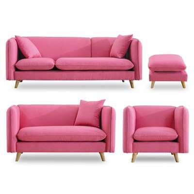 時尚屋 愛葛莎粉紅色沙發組