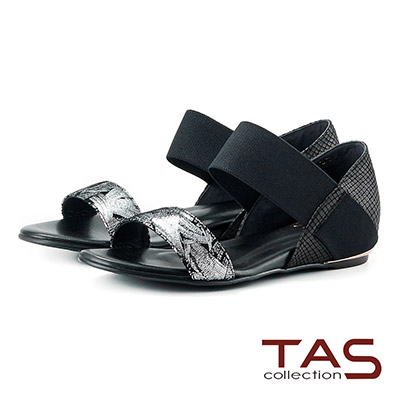 TAS 金屬感一字繫帶內增高涼鞋-銀箔黑