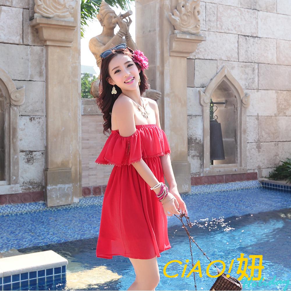 緹花蕾絲荷葉袖洋裝平口洋裝 (紅色)-CiAO妞 holiday