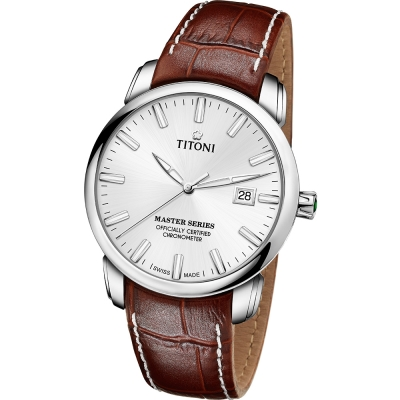 TITONI瑞士梅花錶 大師系列(83188 S-ST-575)-白/41mm