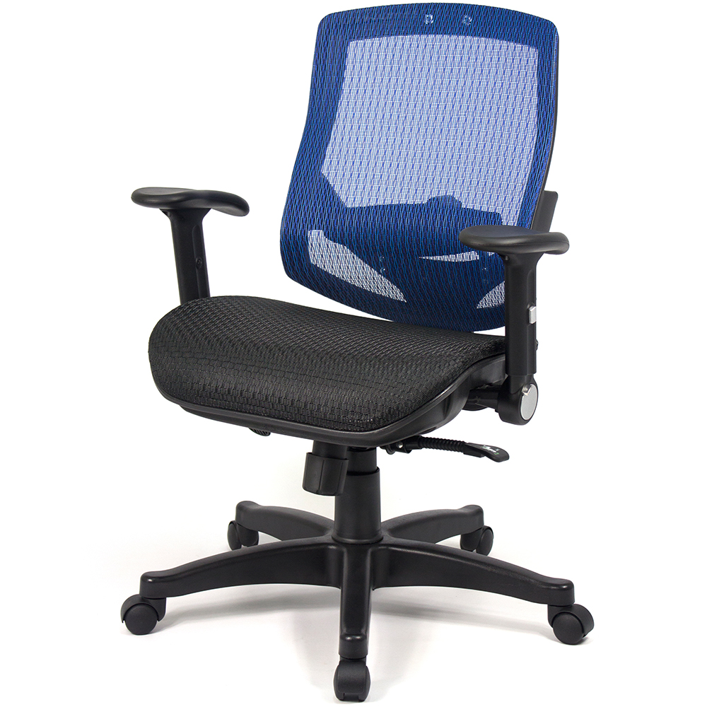 【aaronation】愛倫國度 - 舒適全透氣電腦網椅(908A-藍)