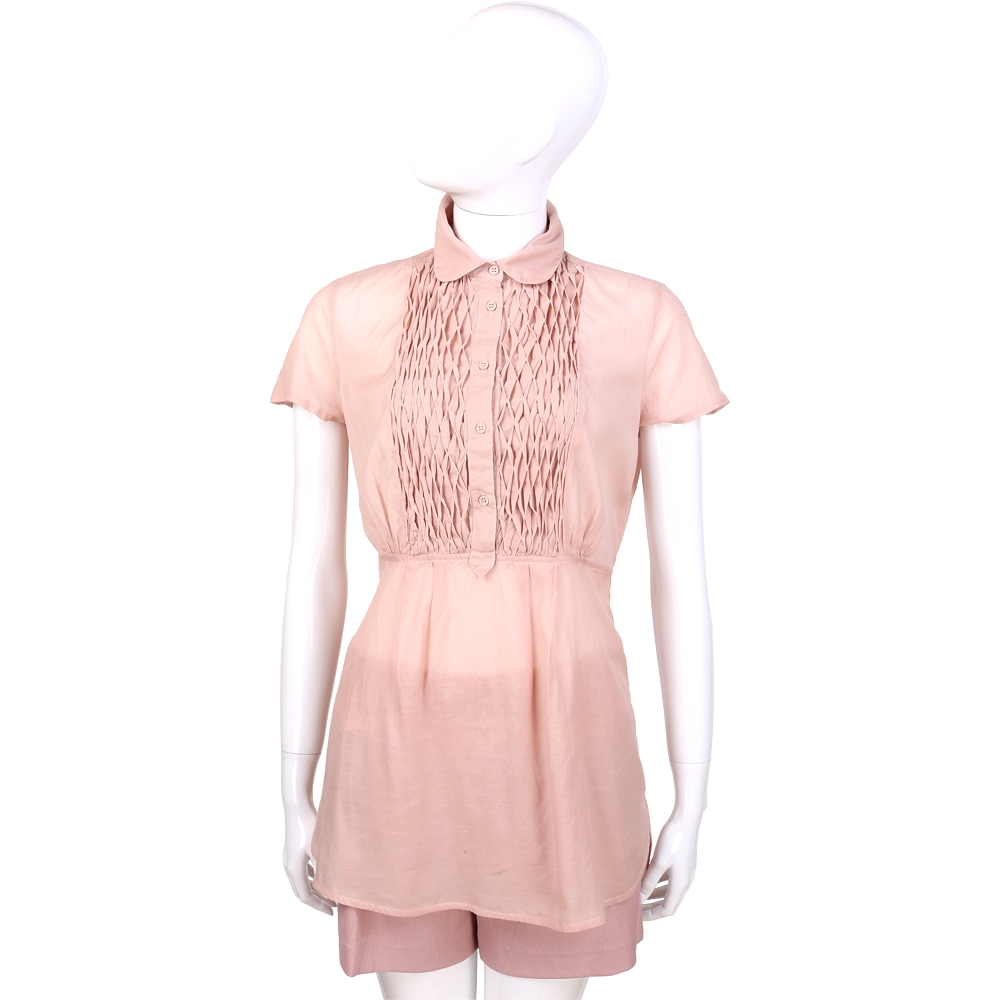 SCERVINO 粉色網紋設計短袖長版上衣