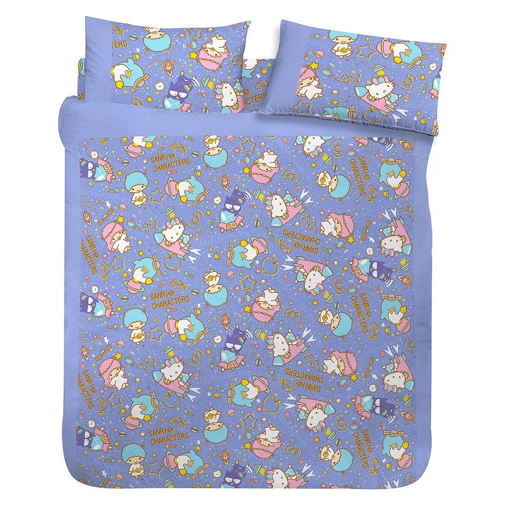 享夢城堡 雙人床包枕套5x6.2三件組-HELLO KITTY 55週年太空風 -粉.紫藍