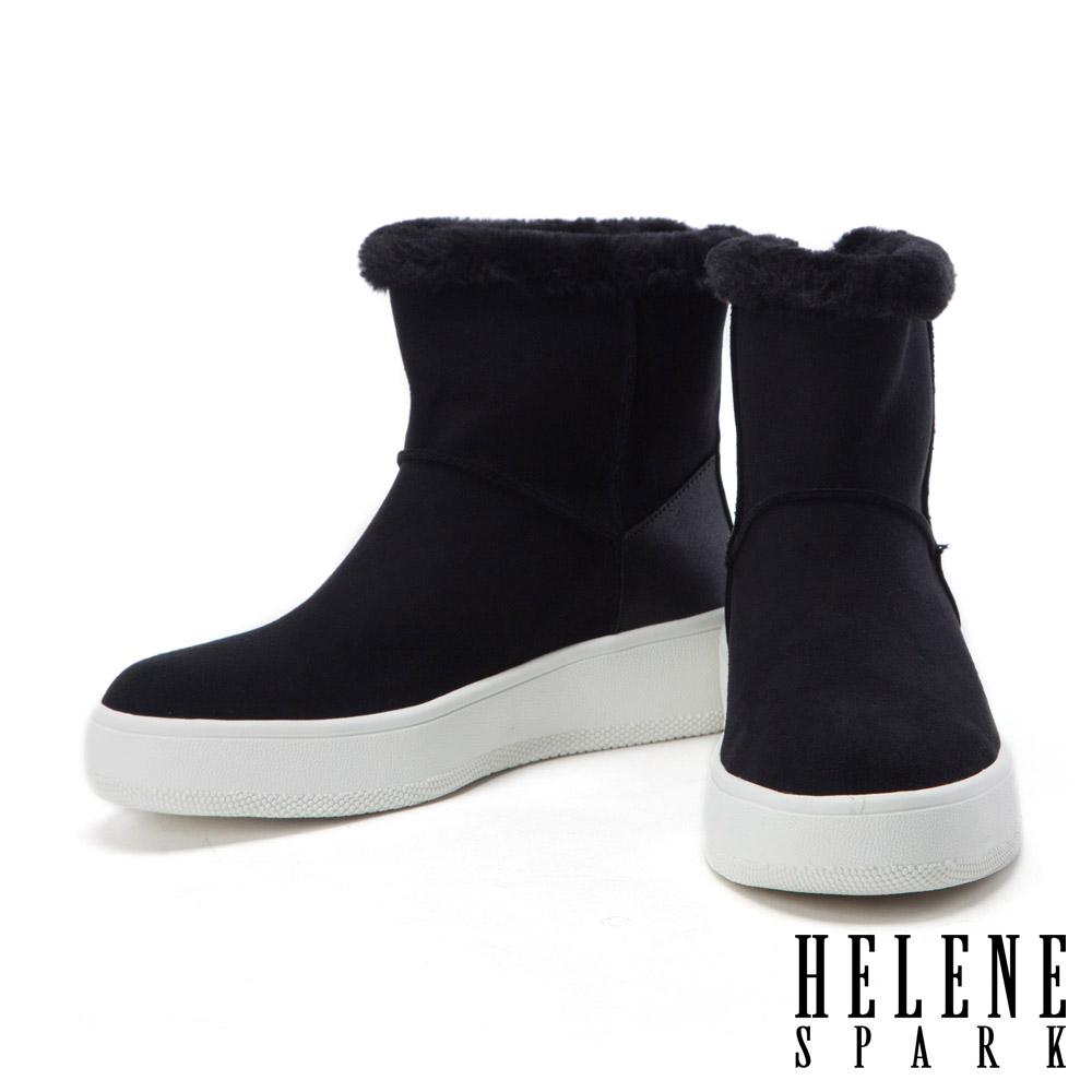 短靴 HELENE SPARK 金屬拉鍊點綴簡約素面麂布絨毛厚底短靴-黑