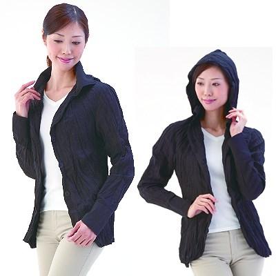 【Sunlead】連帽兩用式抗UV防曬外套 (黑色/L)