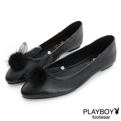 PLAYBOY 甜心風潮 可愛兔毛球平底娃娃鞋-黑(女)