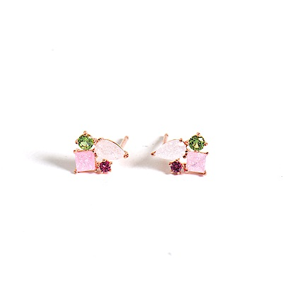 微醺禮物 正韓 鍍K金針  粉嫩閃亮 粉綠紅鋯石 水滴方形圓鋯拼接 花朵 可愛春天 耳針