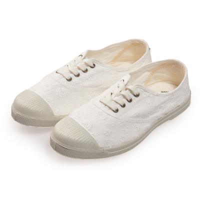 (女)Natural World 西班牙休閒鞋 印花4孔基本款*白色