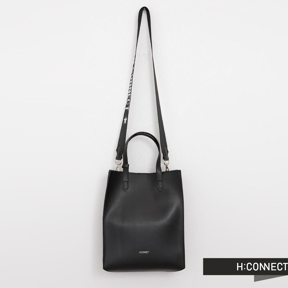 H:CONNECT 韓國品牌 仿皮質兩用托特包 - 黑色