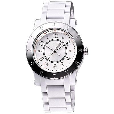 Juicy Couture HRH 耀眼時尚玻麗晶鑽腕錶-白/38mm
