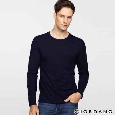 GIORDANO-男裝素色純棉圓領長袖T恤-04-標志海軍藍色