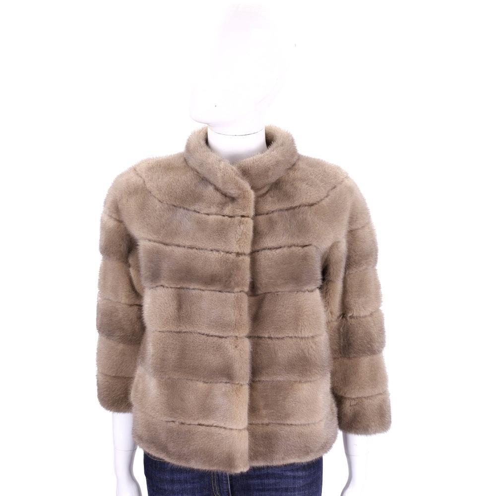 GRANDI furs 駝色立領皮草外套