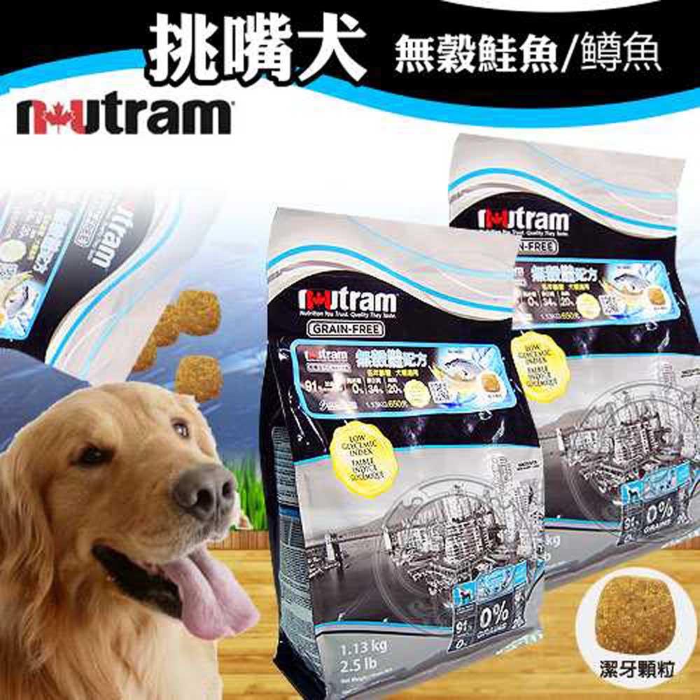 Nutram 紐頓 挑嘴犬無穀鮭魚│?魚藍標原粒2.5磅1.13kg送雙盆狗碗