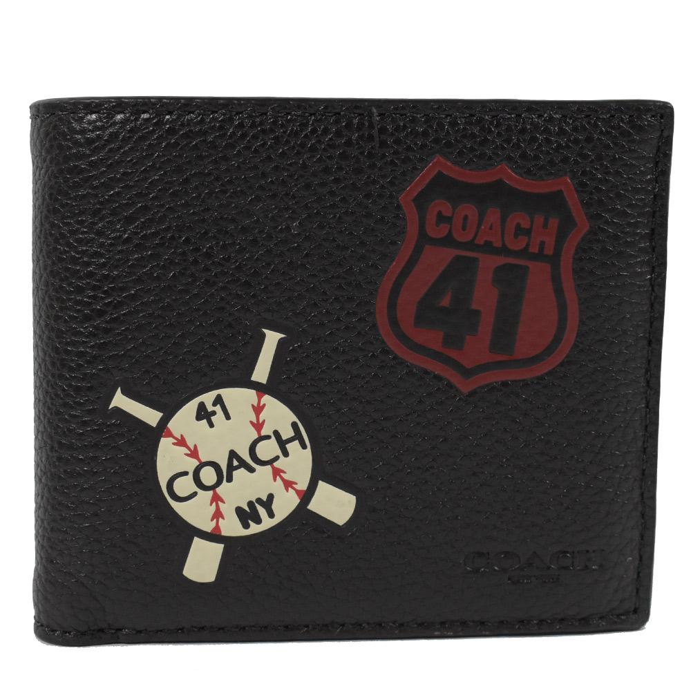 COACH 棒球圖樣牛皮附活動夾短夾(黑)COACH
