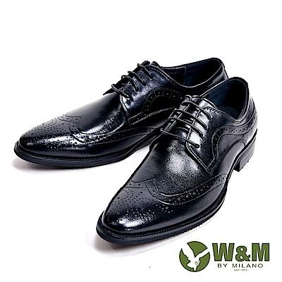 W&M 光感牛皮革 精緻流線壓花型男皮鞋-黑