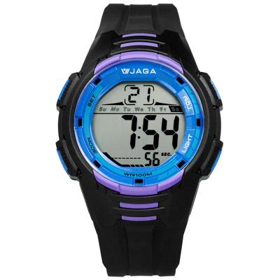 JAGA 捷卡 電子液晶冷光照明計時碼錶鬧鈴運動橡膠手錶-黑籃紫色/44mm