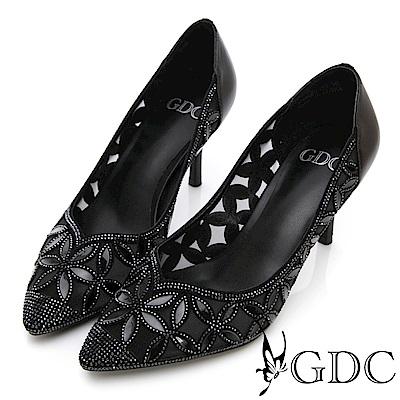 GDC-真皮花朵簍空水鑽氣質跟鞋(婚鞋)-黑色
