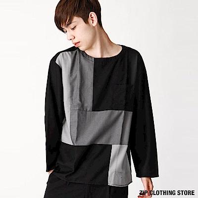 拼接色塊套頭衫(3色) ZIP日本男裝