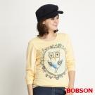 BOBSON 女款貓頭鷹印圖長袖上衣(黃30)