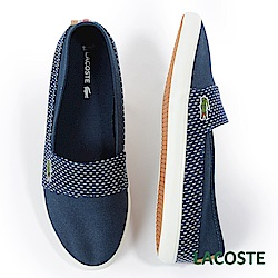 LACOSTE 女用帆布休閒鞋/懶人鞋-藍色