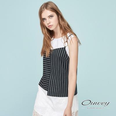 OUWEY歐薇 時尚不規則剪接細帶背心(黑)