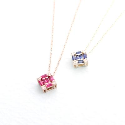 JewCas Carre系列10K金鑽石寶石項鍊
