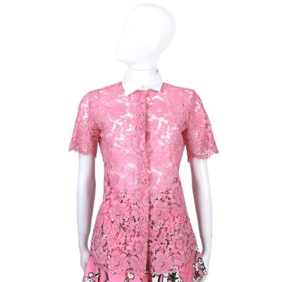 RED VALENTINO 粉色簍空蕾絲短袖襯衫