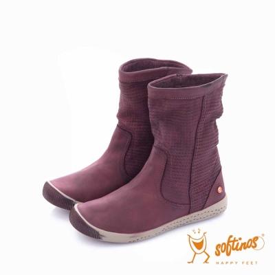 Softinos(女) HAPPY FEET 十字壓紋超軟牛皮中筒短靴 - ?情紫
