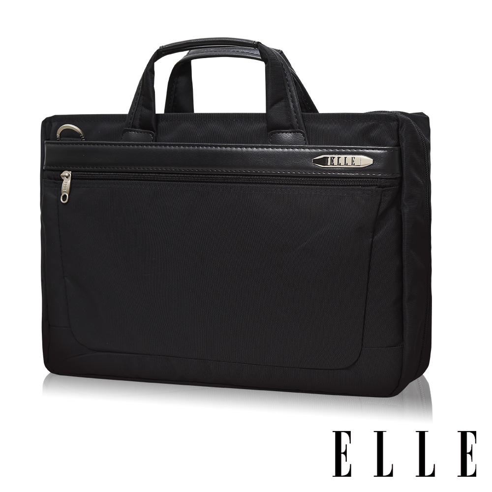 ELLE HOMME 輕量尼龍 14吋筆電收納兩用公事包-黑色 EL74165B