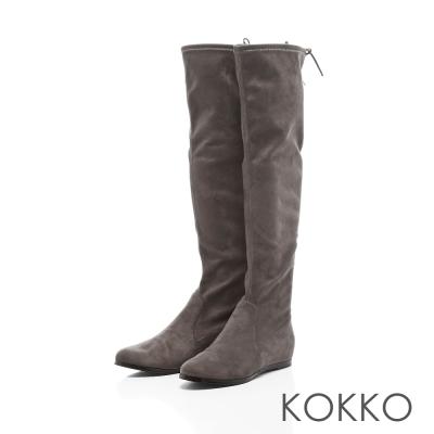 KOKKO-心機美人後綁帶內增高真皮長靴-氣勢灰